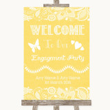 Yellow Burlap & Lace Welcome To Our Engagement Party Customised Wedding Sign