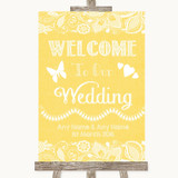 Yellow Burlap & Lace Welcome To Our Wedding Customised Wedding Sign