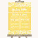 Yellow Burlap & Lace Who's Who Leading Roles Customised Wedding Sign