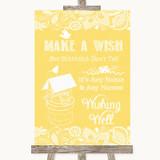 Yellow Burlap & Lace Wishing Well Message Customised Wedding Sign