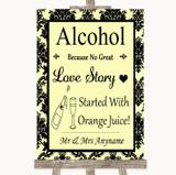 Yellow Damask Alcohol Bar Love Story Customised Wedding Sign