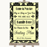 Yellow Damask All Family No Seating Plan Customised Wedding Sign