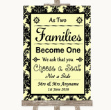 Yellow Damask As Families Become One Seating Plan Customised Wedding Sign