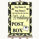 Yellow Damask Card Post Box Customised Wedding Sign