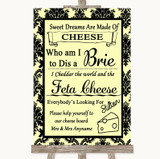 Yellow Damask Cheese Board Song Customised Wedding Sign