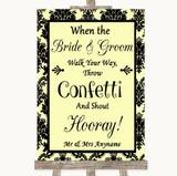 Yellow Damask Confetti Customised Wedding Sign