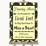 Yellow Damask Dancing Shoes Flip-Flop Tired Feet Customised Wedding Sign