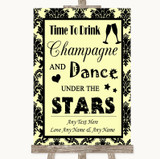 Yellow Damask Drink Champagne Dance Stars Customised Wedding Sign