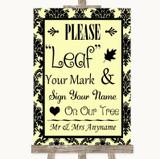 Yellow Damask Fingerprint Tree Instructions Customised Wedding Sign