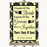 Yellow Damask Friends Of The Bride Groom Seating Customised Wedding Sign
