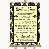 Yellow Damask Grab A Bag Candy Buffet Cart Sweets Customised Wedding Sign