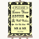 Yellow Damask Guestbook Advice & Wishes Gay Customised Wedding Sign