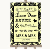 Yellow Damask Guestbook Advice & Wishes Lesbian Customised Wedding Sign