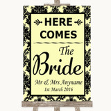 Yellow Damask Here Comes Bride Aisle Sign Customised Wedding Sign