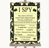 Yellow Damask I Spy Disposable Camera Customised Wedding Sign