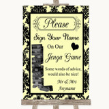 Yellow Damask Jenga Guest Book Customised Wedding Sign