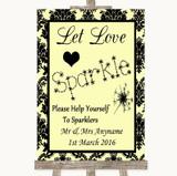 Yellow Damask Let Love Sparkle Sparkler Send Off Customised Wedding Sign