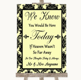 Yellow Damask Loved Ones In Heaven Customised Wedding Sign