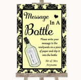 Yellow Damask Message In A Bottle Customised Wedding Sign