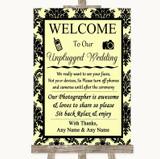 Yellow Damask No Phone Camera Unplugged Customised Wedding Sign