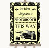Yellow Damask Photobooth This Way Left Customised Wedding Sign