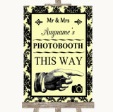 Yellow Damask Photobooth This Way Right Customised Wedding Sign