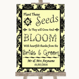 Yellow Damask Plant Seeds Favours Customised Wedding Sign