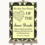 Yellow Damask Puzzle Piece Guest Book Customised Wedding Sign