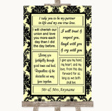 Yellow Damask Romantic Vows Customised Wedding Sign