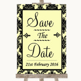 Yellow Damask Save The Date Customised Wedding Sign