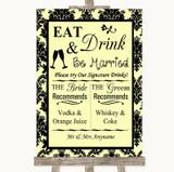 Yellow Damask Signature Favourite Drinks Customised Wedding Sign