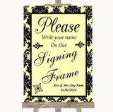 Yellow Damask Signing Frame Guestbook Customised Wedding Sign