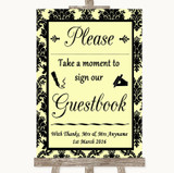 Yellow Damask Take A Moment To Sign Our Guest Book Customised Wedding Sign