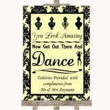 Yellow Damask Toiletries Comfort Basket Customised Wedding Sign