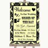 Yellow Damask Welcome Order Of The Day Customised Wedding Sign