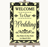 Yellow Damask Welcome To Our Wedding Customised Wedding Sign