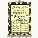 Yellow Damask Who's Who Leading Roles Customised Wedding Sign