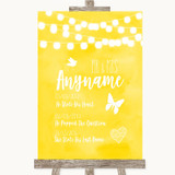 Yellow Watercolour Lights Important Special Dates Customised Wedding Sign