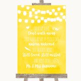 Yellow Watercolour Lights In Loving Memory Customised Wedding Sign