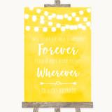 Yellow Watercolour Lights Informal No Seating Plan Customised Wedding Sign