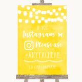 Yellow Watercolour Lights Instagram Hashtag Customised Wedding Sign