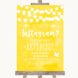 Yellow Watercolour Lights Instagram Photo Sharing Customised Wedding Sign