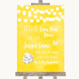 Yellow Watercolour Lights Jenga Guest Book Customised Wedding Sign