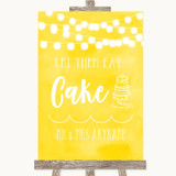Yellow Watercolour Lights Let Them Eat Cake Customised Wedding Sign