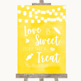 Yellow Watercolour Lights Love Is Sweet Take A Treat Candy Buffet Wedding Sign