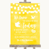 Yellow Watercolour Lights Loved Ones In Heaven Customised Wedding Sign