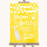 Yellow Watercolour Lights Message In A Bottle Customised Wedding Sign