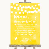 Yellow Watercolour Lights No Phone Camera Unplugged Customised Wedding Sign
