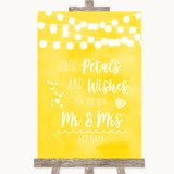 Yellow Watercolour Lights Petals Wishes Confetti Customised Wedding Sign
