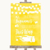Yellow Watercolour Lights Photobooth This Way Left Customised Wedding Sign